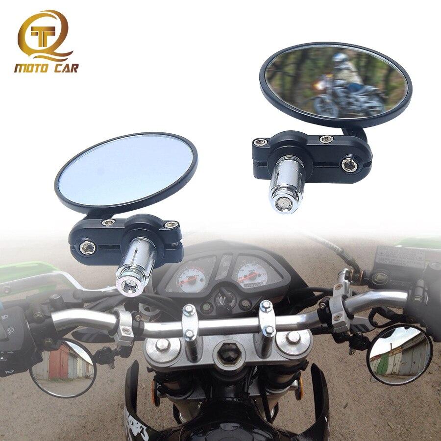 XMT-MOTO Universal CNC Motorcycle 3 Round 7//8 Handle Bar End Mirrors Rearview Side Round fits for Motorbike Harley Davidson Honda Kawasaki Suzuki Yamaha,Black