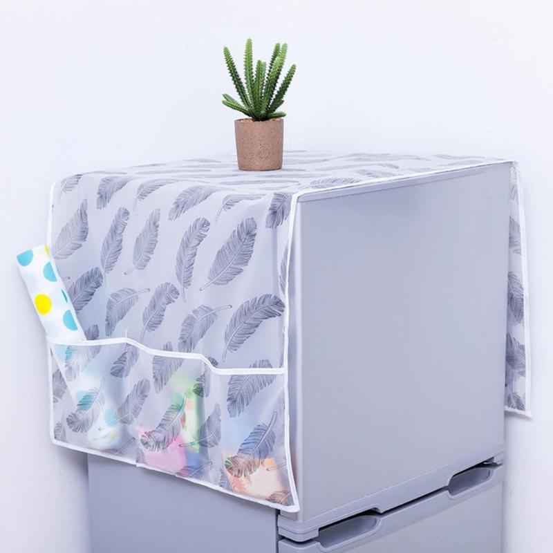 Refrigerator Cover With Pocket Waterproof Washing Machine Refrigerator Dust Cover Storage Organizer