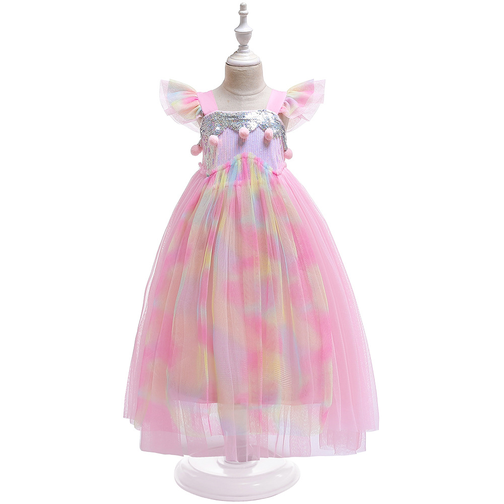 New Style Dresses Of Bride Fellow Kids Fly Sleeve Unicorn Dress Girls' Princess Skirt Halloween Cosplay Performance Wear