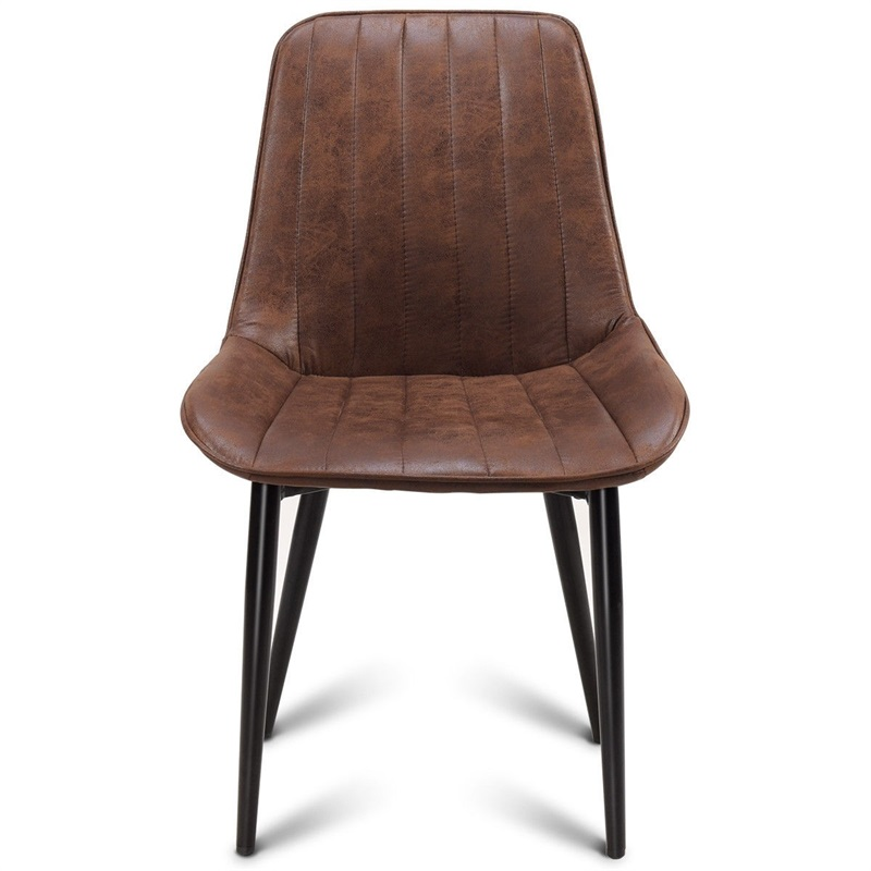 Modern Leisure Dining Chair Accent Armless Chair Brown Strong X-shape Structure Chairs Dining Room Hotel Meetings HW59504