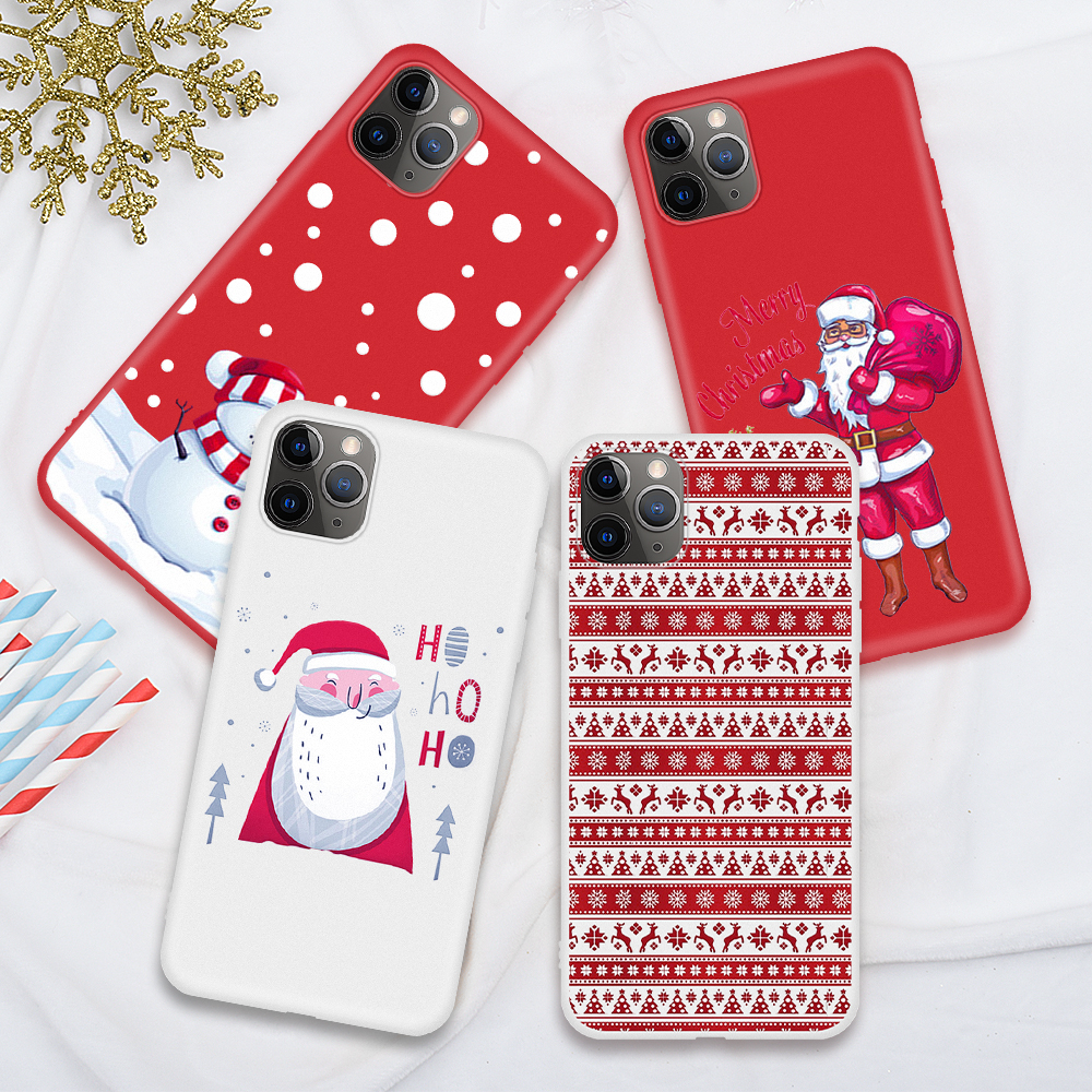For iPhone 12 11 Pro Max 12 Mini XS Max Soft Case Animal Christmas White Pattern Phone Case For iPhone XR X SE2020 8 7 6s 6 Plus