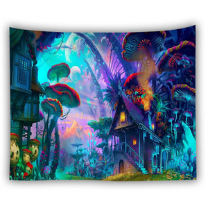Image 2 - Tapiz de pared bohemio colgante Casa de hongo enorme fairyland psicodélico tapestriws decoración del hogar