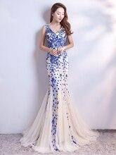 Sleveless Abiti Da Sera Elegante Della Sirena Del Vestito Convenzionale Tull Sequind Prom Abito In Pizzo Robe De Soriee Lungo Da Sera Vestito Da Partito