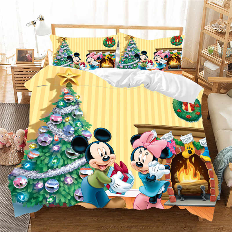Christmas Mickey Minnie Bedding Set  Duvet Cover Pillowcase  Home Textile Adult Children Gift Queen King Size Bedding Set