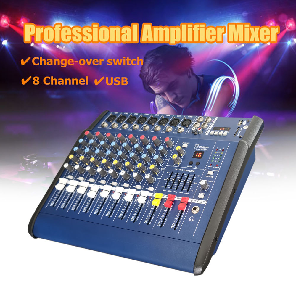 GAX-802D 8 Channel Digital Audio Mixer Console Karaoke Microphone Sound Mixing Amplifier Built-in 48V Phantom Power With USB