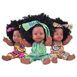 Кукла реборн с длинными волосами, поп-кукла для новорожденных, полностью силиконовая, зеленая, черная, афро, 30 см, 12 дюймов
