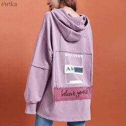 ARTKA 2019 Осень Новые женские толстовки модные балахоны с вышивкой длинные свободные повседневные пуловер с капюшоном свитер VA10897Q