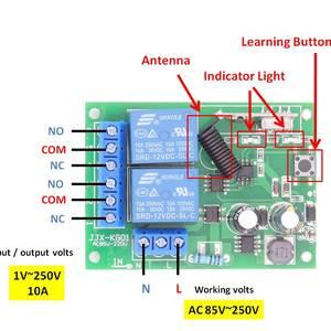 Image 5 - 433MHz אלחוטי שלט רחוק AC 220V 10A 2CH rf ממסר מקלט ומשדר מרחוק אור/הנורה/מנוע מתג