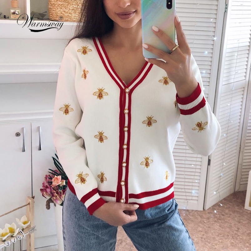 High Quality Fashion Designer Bee Embroidery Cardigan Long Sleeve Single Breasted Contrast Color Button Knitted Sweaters C 196