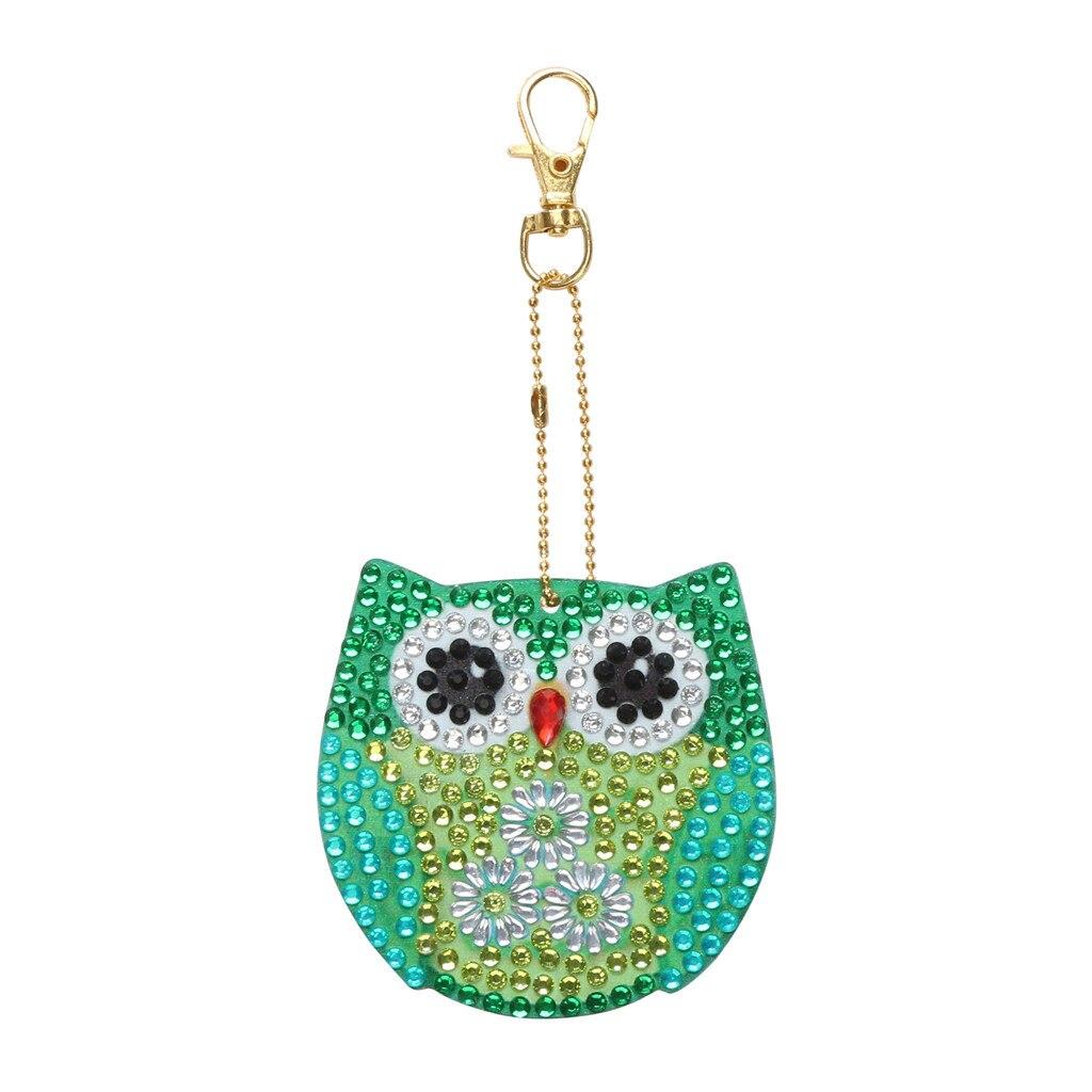 5PC Owl Diamond Painting Key Chains Pendant DIY Resin Key Ring Keychain Gifts