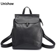 Unishow Genuine Leather Women Backpack Small Causal Ladies Travel Backpack Brand Designer Female Leather Antitheft Back Pack Bag
