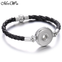 New Leather Snap Button Bracelet Fit 20mm 18mm Snap Buttons Jewelrey Br