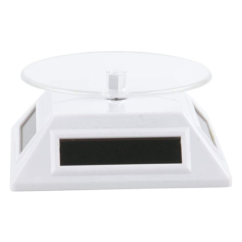 White Solar/Battery Powered Rotating Stand Product Display Art Jewellery Exhibition Photography