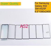 Pantalla táctil para Samsung Galaxy A52, Panel de cristal frontal LCD, lente exterior, A52, A525, con pegamento OCA, 10 unids/lote