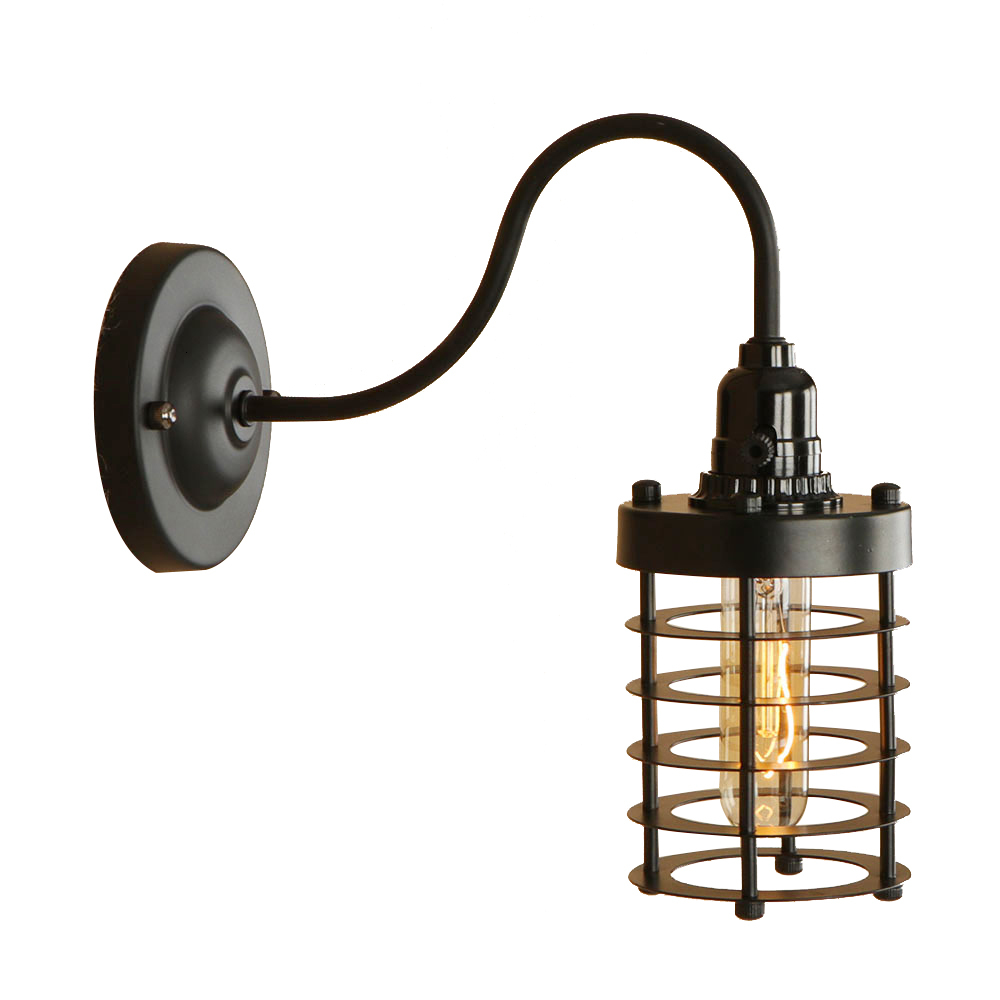 Industrial pastoral iron black wall lamp LED E27 vintage wall light for bedroom corridor aisle shop living room restaurant bar