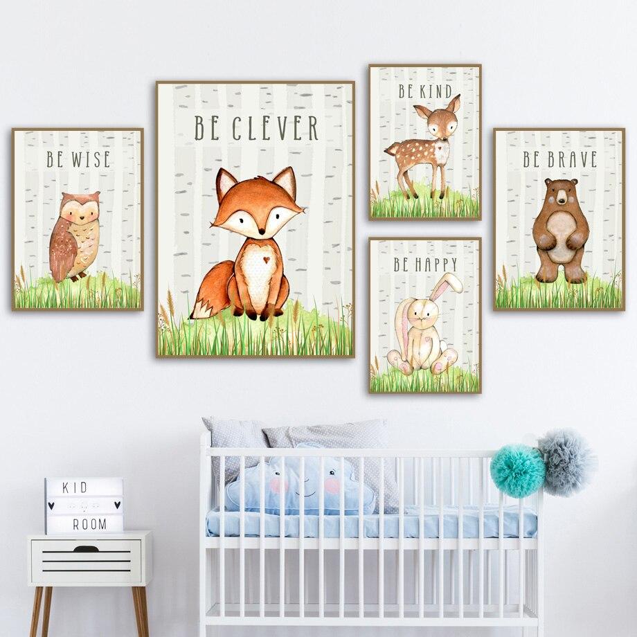 Pintura de tela de arte para parede, pintura de coelho, raposa, cervos, coruja, floresta, berçário, arte em tela, posteres e impressões nórdicas, quarto de crianças decoração|Pintura e Caligrafia|   - AliExpress