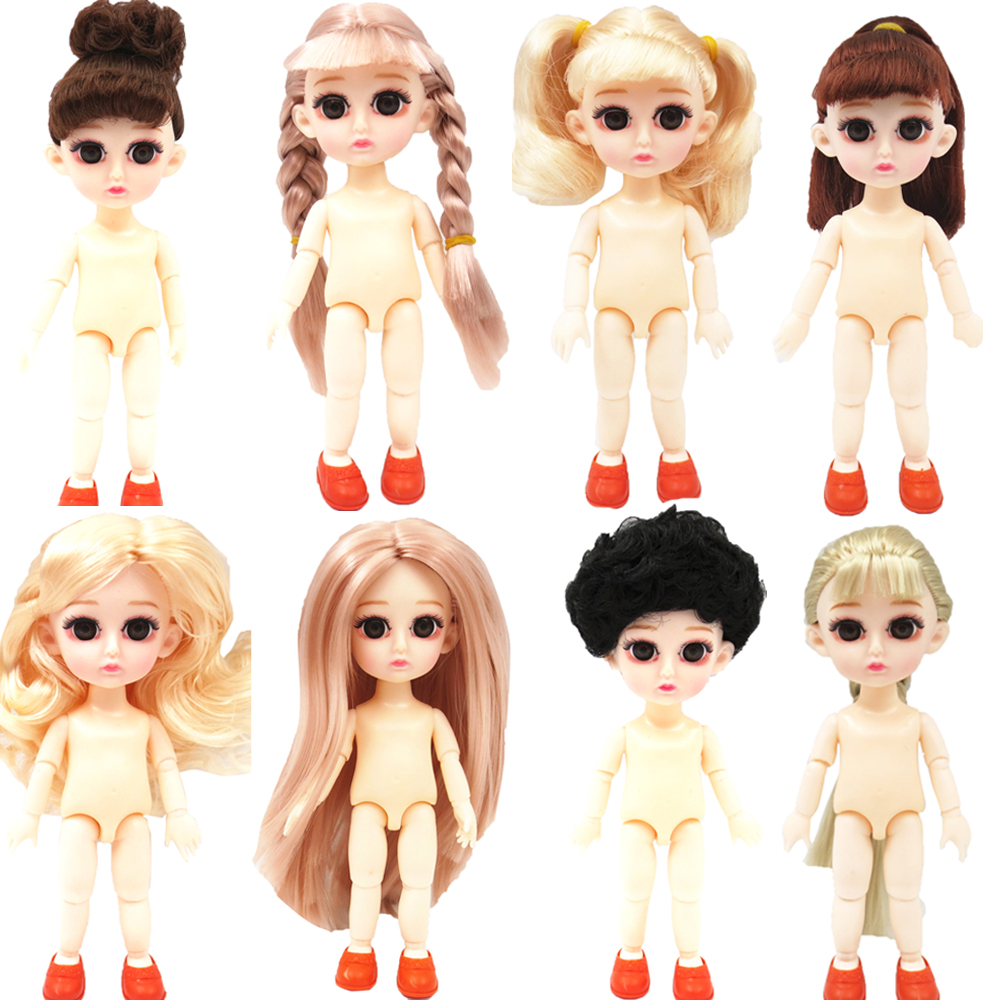NK Mix Style 13 Movable Jointed Doll Mini 16cm Baby 3D Eye Naked Nude Body +Fashion Shoes For BJD Doll Girls Gift Baby Toys JJ