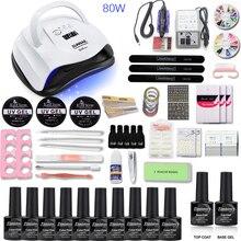 Nail Set 80/54/36W UV LED Dryer 10pcs Gel Polish 3 extension gel Kit Manicure Tools electric drill machine