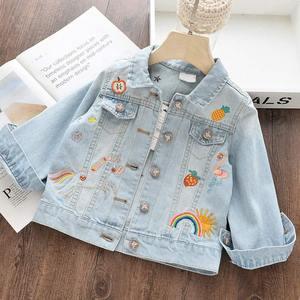 Image 2 - Jednorożec kurtka dżinsowa dla dziewczynki dzieci jesień wiosna dziewczynek haftowana kurtka dżinsowa 3 ~ 12 lat dziewczyny odzież wierzchnia
