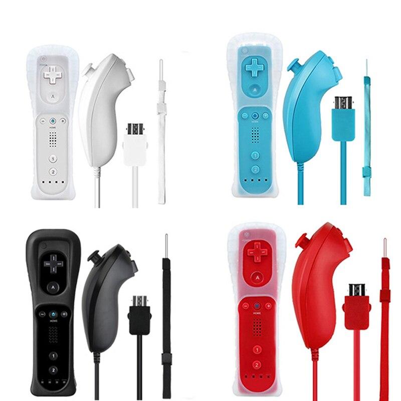 Kablosuz Gamepad uzaktan kumanda + Nunchuck 2 in 1 için nintendo Wii denetleyici Joystick silikon kılıf