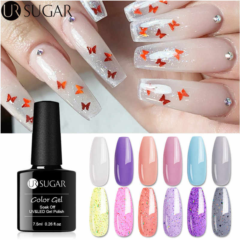 UR Gula 7.5 Ml Opal Jelly Gel Cat Kuku Lapisan Kuku Jelly Kaca Tembus Pandang Glitter Gel Pernis Rendam Off UV LED Gel Lak