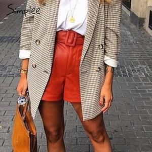 Image 3 - Simplee pantalones cortos de piel sintética para mujer, shorts femeninos de cintura alta, cinturón de otoño e invierno, de pierna ancha, para club de fiestas de señoras