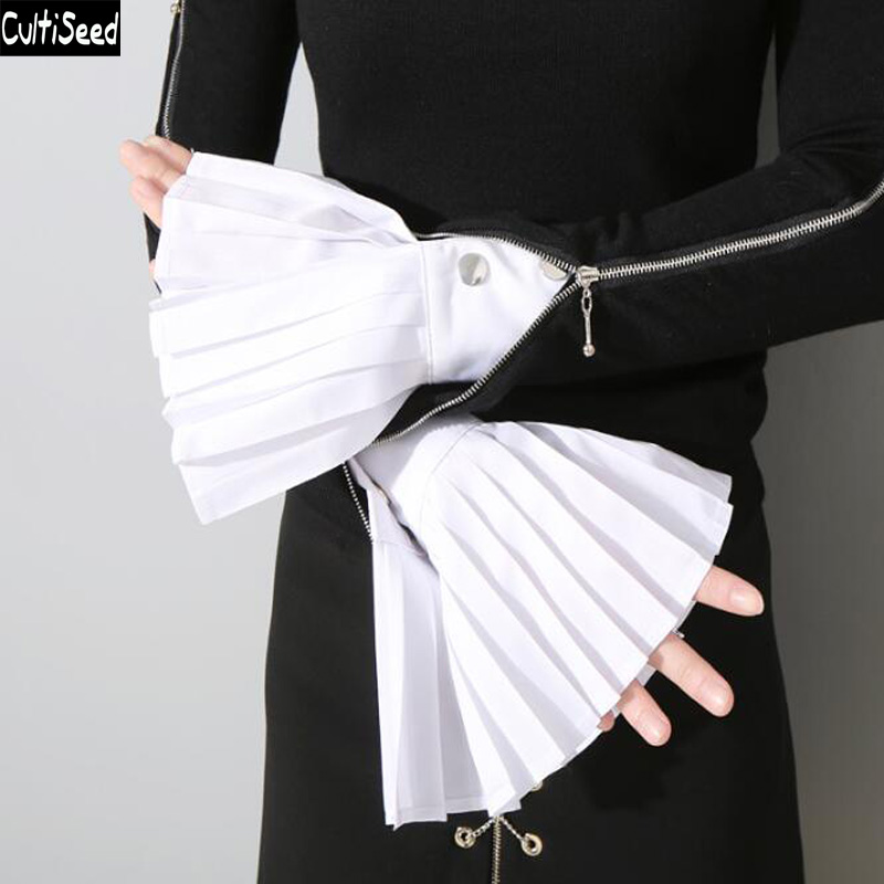 2019 European Fashion Fake Shirts Arm Warmers Female Pleated Fake Flare Sleeve Ladies Decorative Sleeve Shirt Sleeve