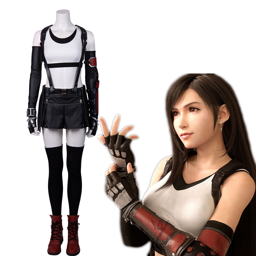 <font><b>Sexy</b></font> <font><b>Halloween</b></font> Costumes for Women Final Fantasy VII Tifa Lockhart <font><b>Cosplay</b></font> Costume Super Short Leather Skirt Set with Shoes image
