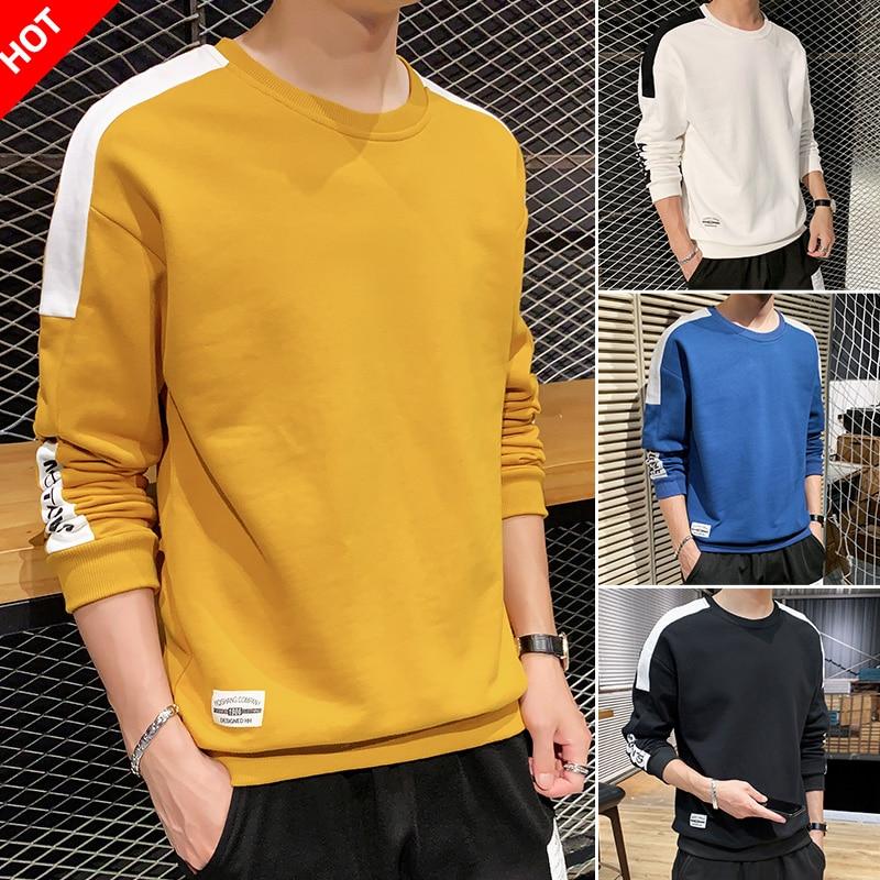 Casual Men's Hoodies 2020 Spring Fashion Long Sleeves Sweatshirt Hooded Man Solid Color Male Hoodies Sweatshirts For Men