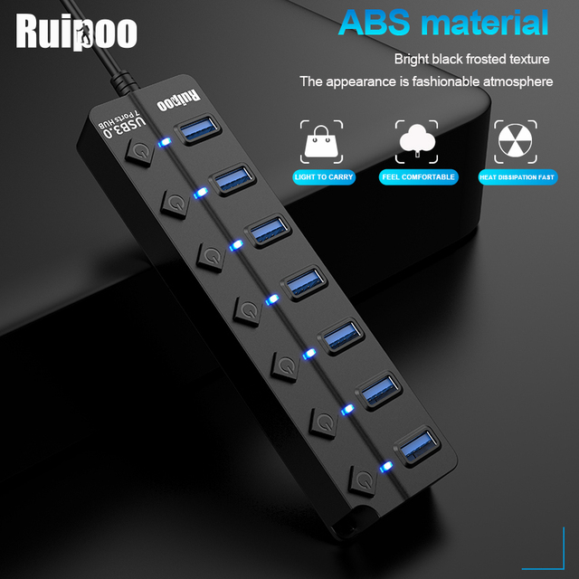 USB Hub 3.0 High Speed 4 / 7 Port USB 3.0 Hub Splitter On/Off Switch with EU/US Power Adapter for MacBook Laptop PC HUB USB 3.0 3