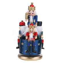 Collection Crafts Home Decoration Kids Music Box Birthday DIY Soldier Toy Portable Wooden Nutcracker Christmas Gifts Round Base