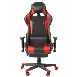 Wcg Silla de Juegos de oficina Silla de juegos reclinable silla giratoria de cuero PU silla de oficina con reposapiés para muebles de oficina en casa