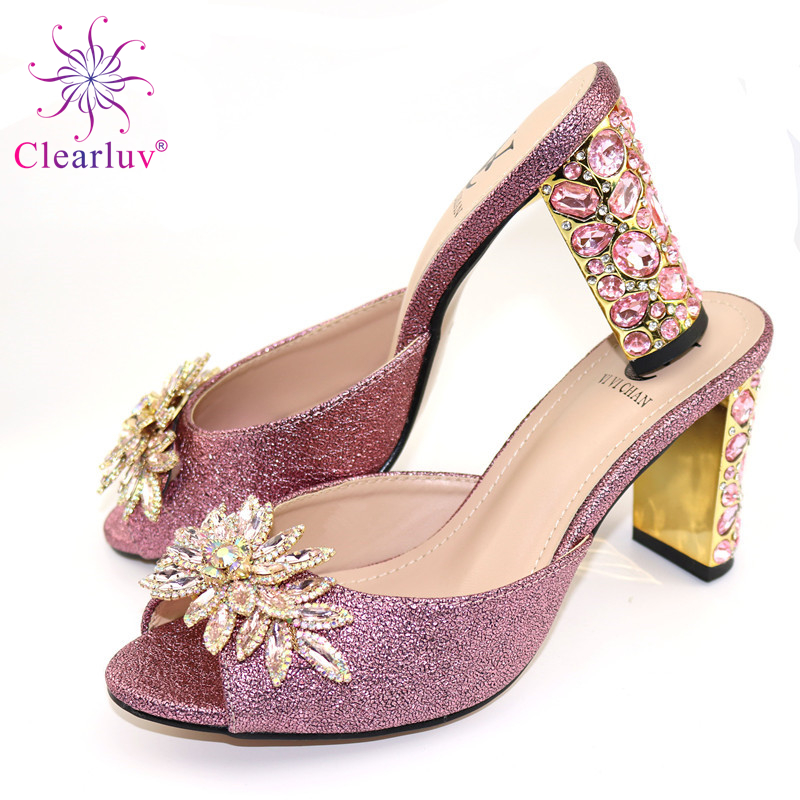 Sandals Pink Color Party Or Wedding Beautiful Italian Design PU Leather Adults Shoes African Woman Shoes Possible Match Bag