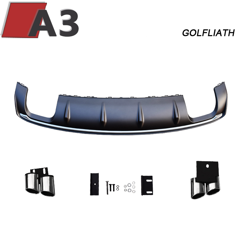 GOLFLIATH For A3 8V Rear Diffuser <font><b>S3</b></font> Style PP rear lip with 4-outlet <font><b>Exhaust</b></font> <font><b>Tips</b></font> fit For <font><b>Audi</b></font> A3 4-door Sedan 2012-2015 image