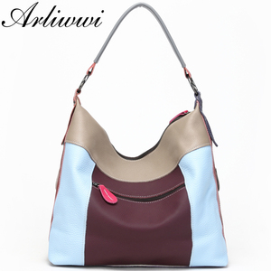 Image 3 - Arliwwi Genuine First Layer of Cow Leather Shoulder Bags Women Luxury New Rivet Real Leather Messenger Handbags For Female GM02
