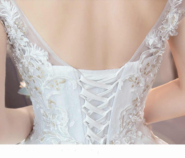 فستان زفاف عاري الكتفين 2019 نسخة عروس جديدة عرض الأميرة المحكمة رقيقة بسيطة كبيرة للتخصيص فساتين الدانتيل