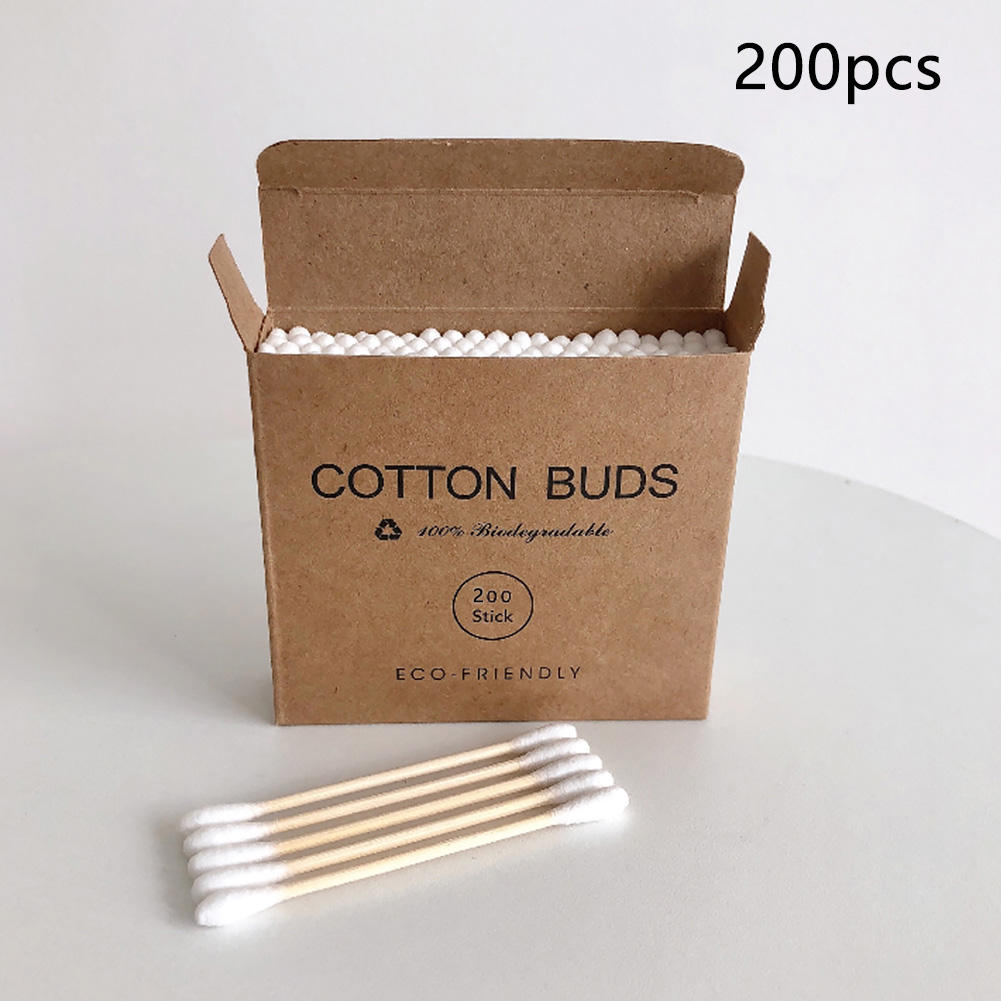 100/200pcs Cosmetic Bamboo Nose Home Makeup Non Toxic Sticks Double Head Multifunction Disposable Cotton Swab Ears Cleaning