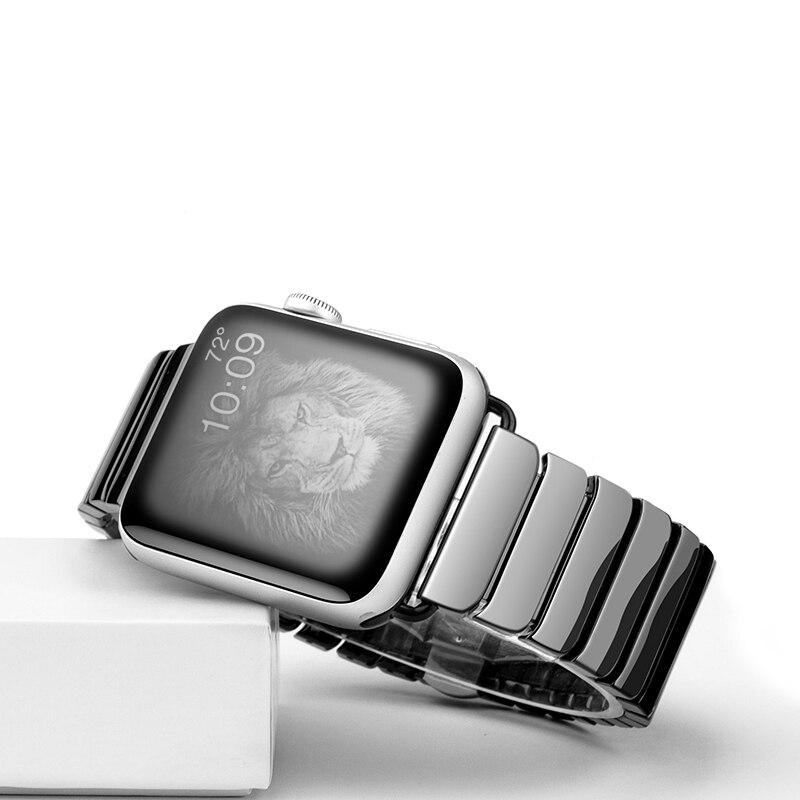 Pulseira de cerâmica para apple watch 5 4 banda 44mm 40mm apple relógio banda 42mm 38mm iwatch série 5/4/3/2/1 borboleta fivela pulseira