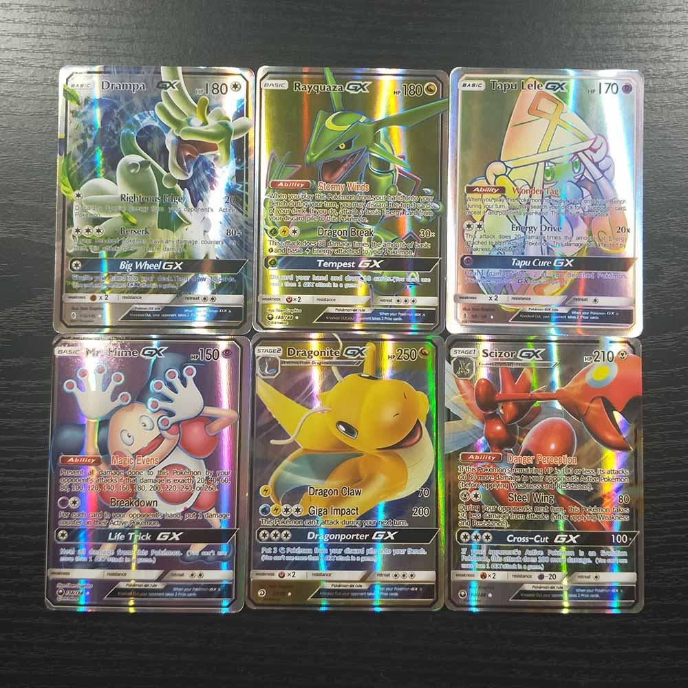 TAKARA TOMY Sun Moon Pokemon Cards Collections Battle Shining Card Deck Board Game Children Toys 100pcs 95 GX 5 MEGA Flash Card