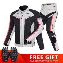 Motorjas Man Set Motor Broek Pak Rijden Winddicht Koude Proof Herfst Winter Moto Jacket Body Armor Kleding Grijs
