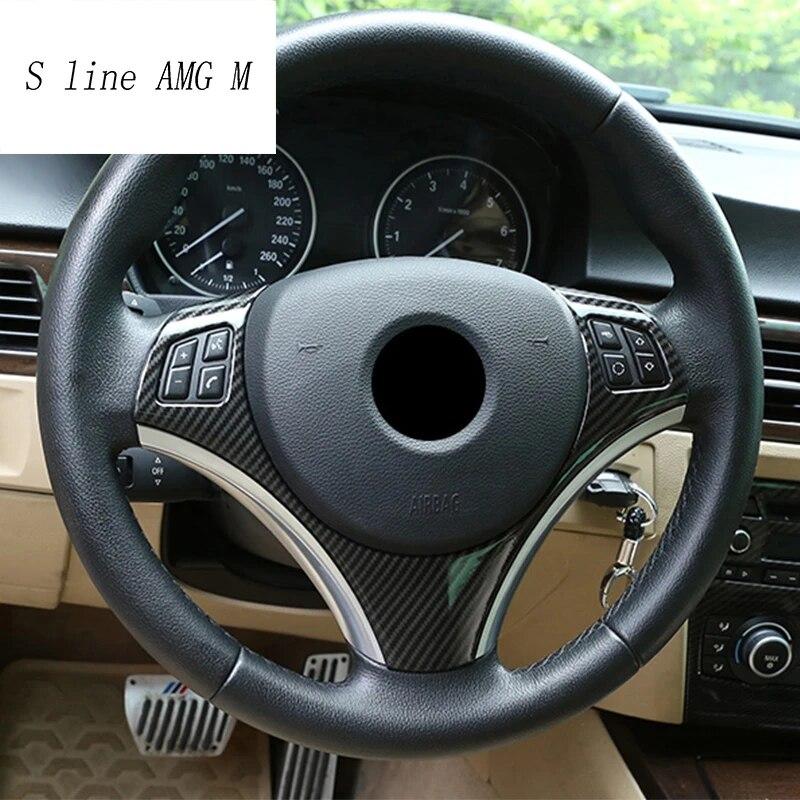 Carbon Fiber Steering Wheel Button Frame Sticker Trim Fit For BMW 3 Series E90