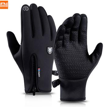 Xiaomi zimowe rękawiczki termiczne ciepłe wodoodporne wiatroszczelne Outdoor Sports rękawiczki rowerowe Full Finger ekran dotykowy rękawiczki mężczyźni kobiety tanie i dobre opinie CN (pochodzenie)