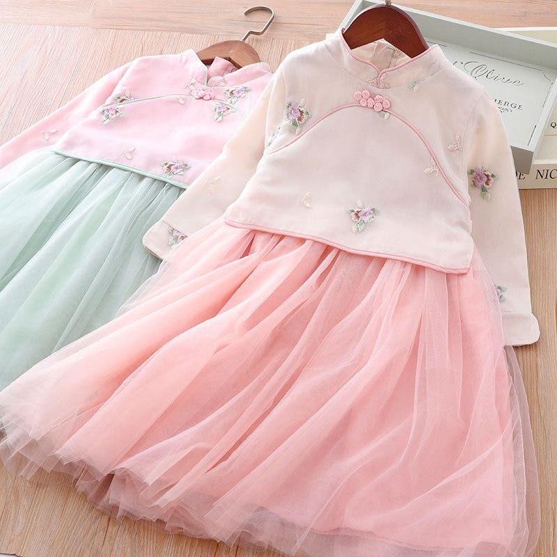 Children Chinese Clothing Autumn Nation Chinese-style Long Sleeve Retro Cheongsam Embroidery Immortal Mesh Skirt Girls Dress