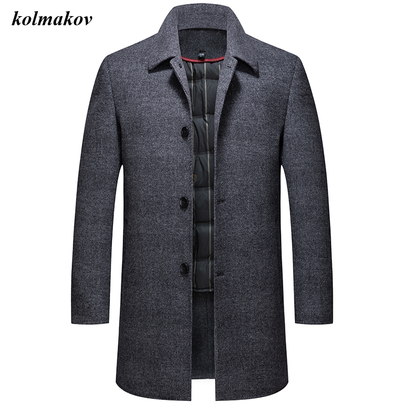 New Arrival Winter Style Men Boutique Wool Woolen Coats High Quality Detachable White Duck Down Liner Men's Solid Woolen Clothes