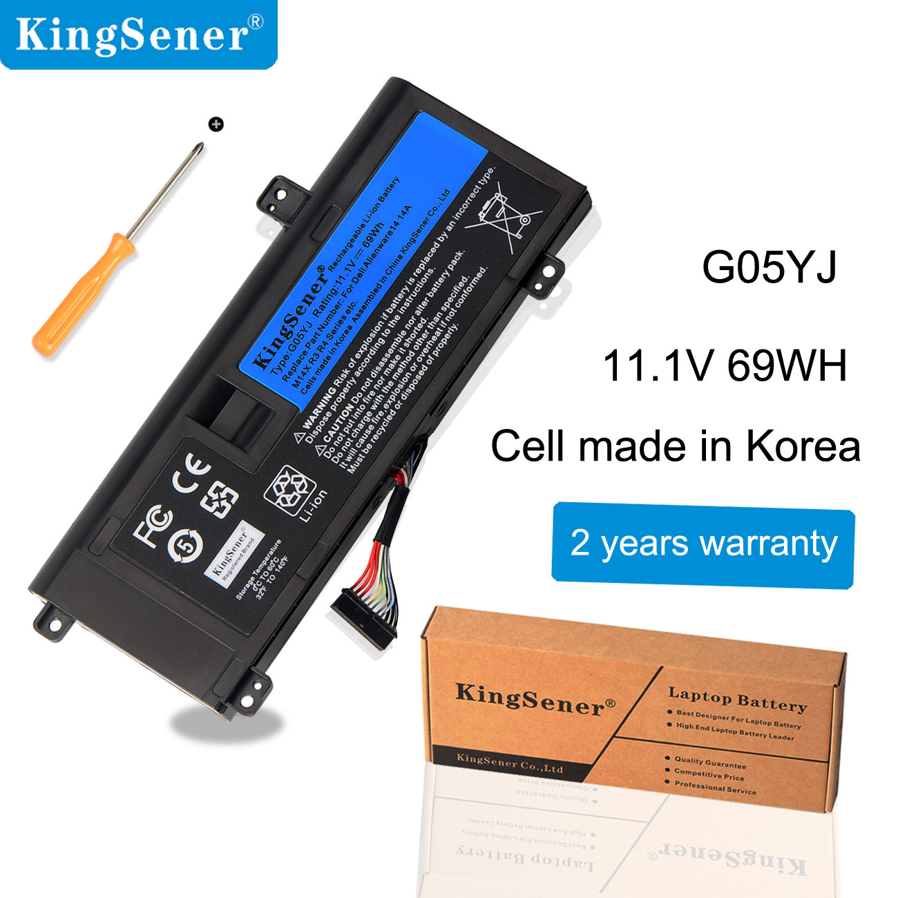 KingSener G05YJ Laptop Battery For DELL Alienware 14 A14 M14X R3 R4 Series P39G Alienware 14D-1528 GO5YJ Y3PN0 8X70T 69WH