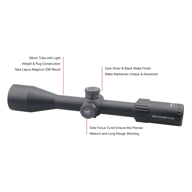Vector Optics Marksman 6-24x50 FFP Tactical Riflescope Hunting Rifle Scope Side Focus Min 10Yds 1/10MIL Adjustment .30 06 Win 3