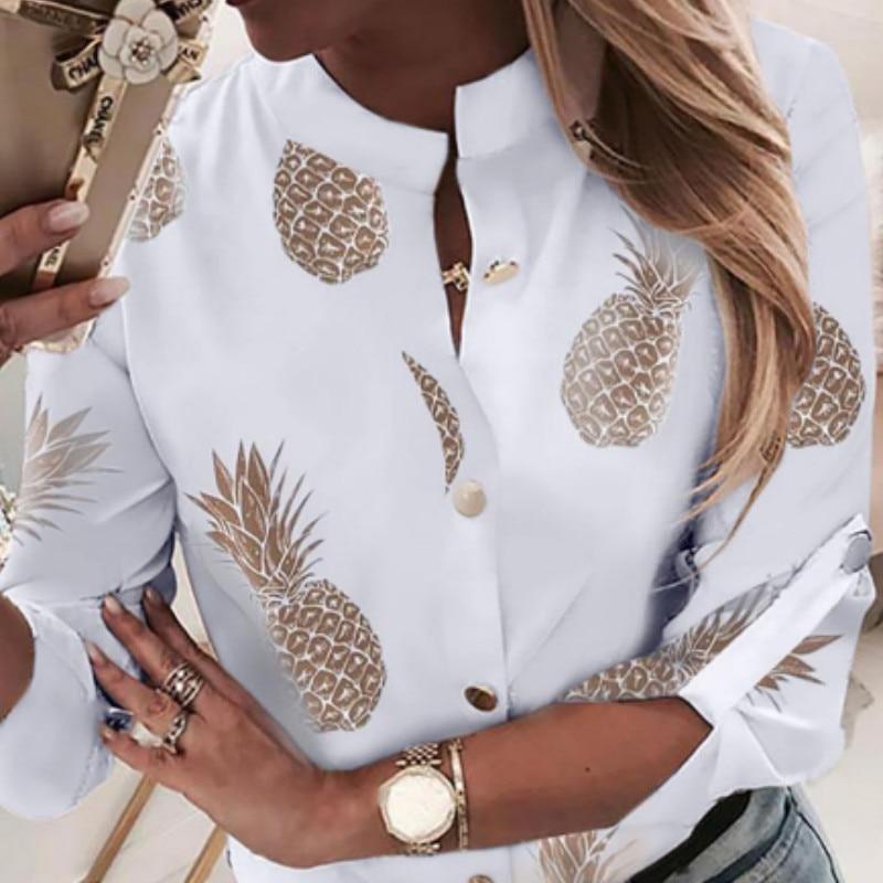 Fashion Women Autumn Long-Sleeved Pineapple Print   Blouse     Shirt   Ladies Casual Tops