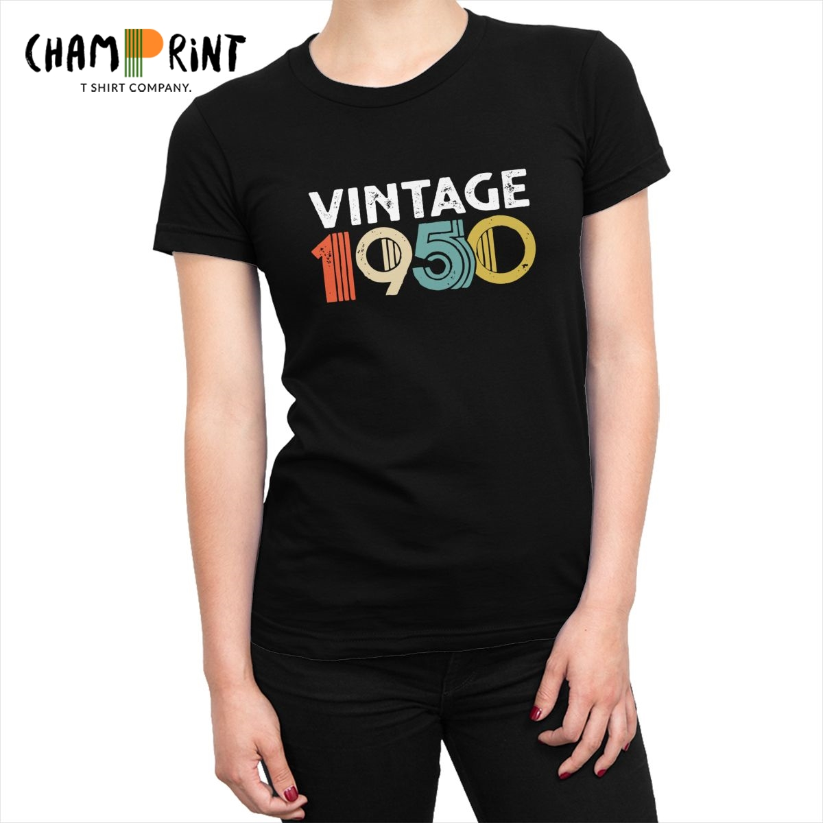 Vintage 1950 70th <font><b>Birthday</b></font> Women's T-<font><b>shirt</b></font> <font><b>70</b></font> Years Old Tumblr Tshirt Cotton Tops Tees Crazy Printed Graphic Clothing for Female image