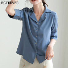 BGTEEVER Summer Office Ladies Shirts Half Sleeve Single-brea