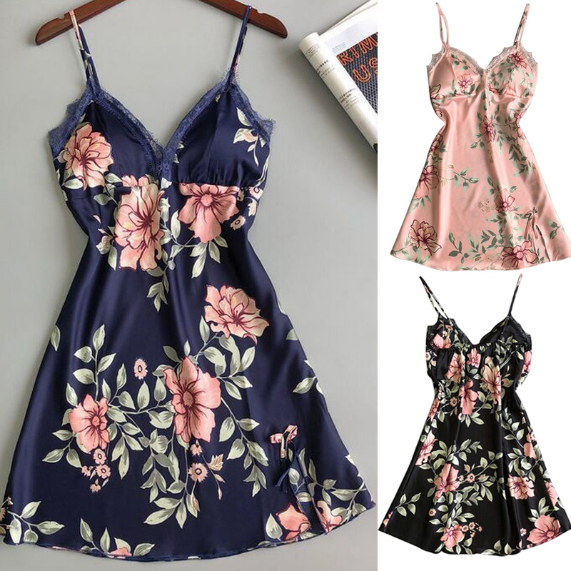 Women Nightdress Nightgown Sleepwear Sleeveless Smooth Breathable For Home FS99